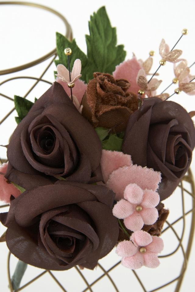 【10周年記念特別SALE価格】フォーマルコサージュ−ブラウン×ピンク